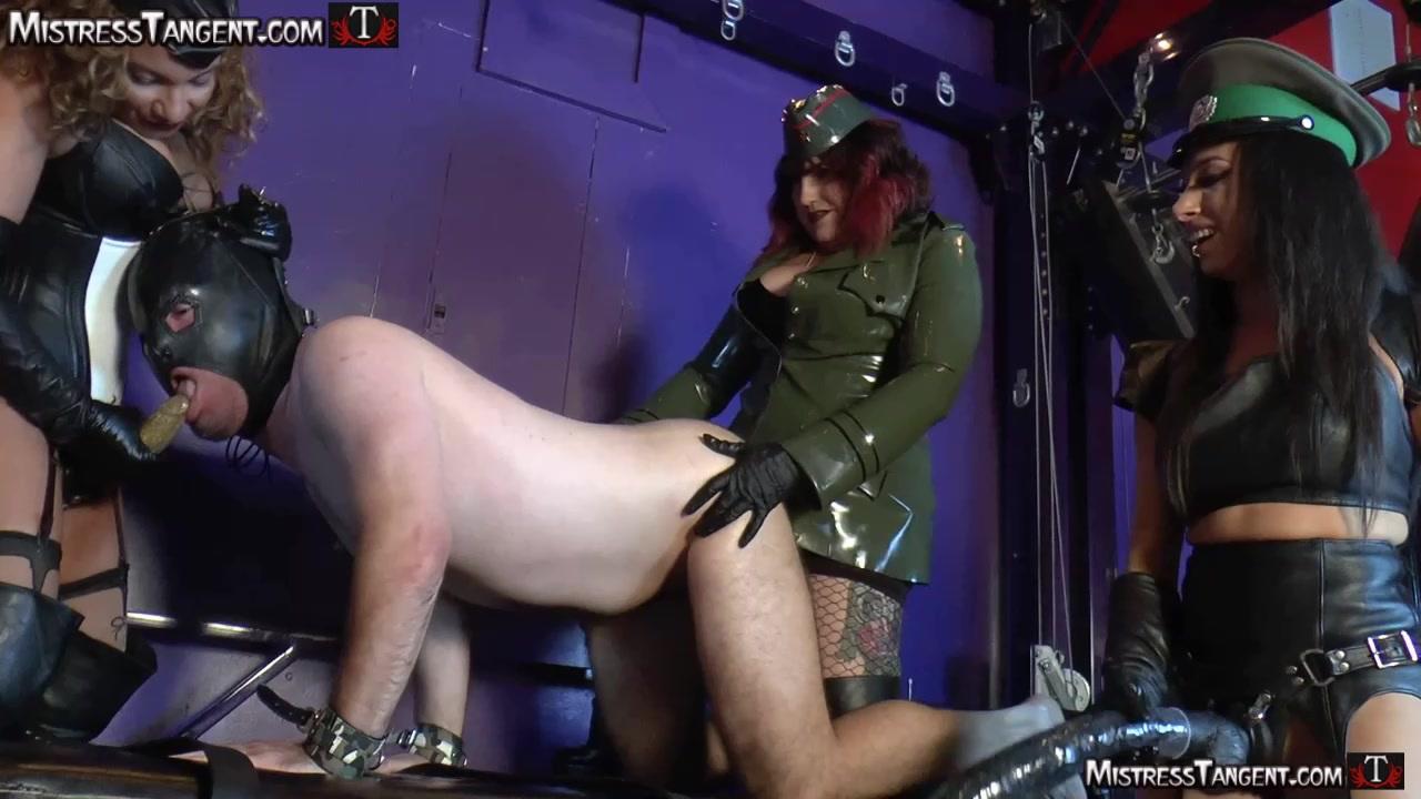 Uniformed Mistresses Strap-on Lucky Slave