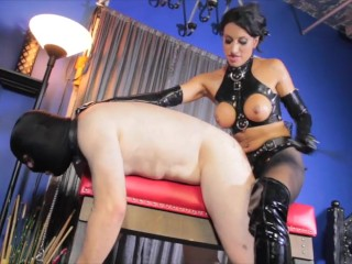 Mistress Tangent has Slave for Strapon Domination