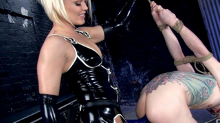 Two Dominas Pegs a Slave Guy