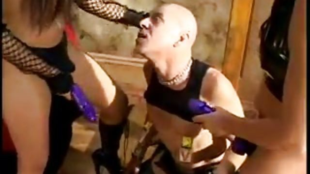 Two Hot Mistresses Pegging and Dominate Male Slave